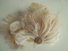 Wedding Hair Clip Bridal Fascinator Gold Brooch by kathyjohnson3