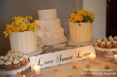 Love the cake and cupcakes idea but with different kind of flowers
