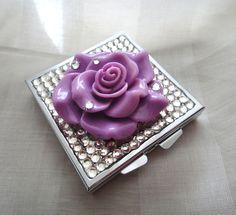 Purple rose pill case, rhinestone pill box, deco bling