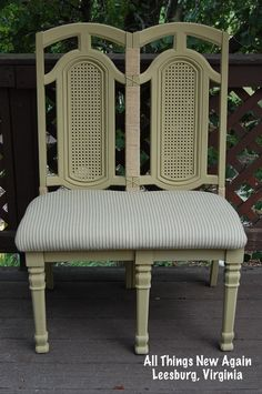We constructed this bench from two old dining room chairs ... then painted it with American Paint Company's Desert Cactus, a neutral khaki color that matches just about everything. www.AllThingsNewAgain.net