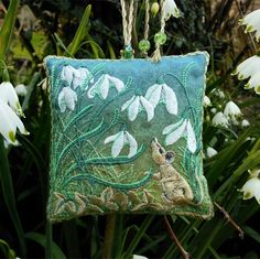 SNOWDROPS embroidered lavender bag with woodland mouse, Green and white colours - The British Craft House Craft House, Lavender Bags, Metallic Thread, Love Is All, Three Dimensional, Textile Art, Home Crafts, Woodland, Embroidery Designs