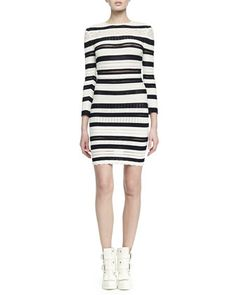 Long-Sleeve Striped Lace Bandage Dress by Alexander McQueen at Neiman Marcus.