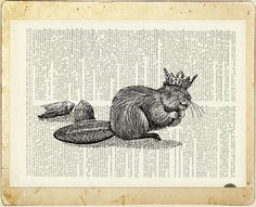 Royal beaver printed on vintage page from dictionary by FauxKiss