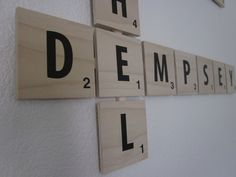 Custom Scrabble Assembled Wall Tile Family Tree- One piece ready to hang. $2.50, via Etsy.