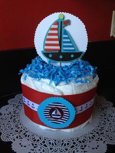 Nautical theme baby shower.  Mini diaper cake centerpiece.