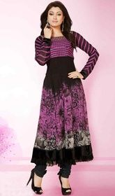 Black and Pink Color Georgette Dhupian Anarkali Dress  #pakistanianarkalidresses2016 #ethnicwearonlineshoppingforkids Add grace and charm on your appearance in this black and pink color georgette dhupian Anarkali dress. This dress is showing some really mesmerizing and creative patterns embroidered with lace and resham work. USD $ 88 (Around £ 61 & Euro 67)