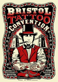 The Bristol Tattoo Convention took place on and June 2016 Designer – Chris Hopewell Limited edition of 300 2 colour screen print x x Graphic Design Projects, Graphic Design Posters, Worldwide Tattoo, Convention Tattoo, Tattoo Posters, Penguin Tattoo, Rockabilly Art, Tattoo People, Neo Traditional Tattoo