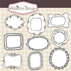 Set of 9 doodle frames perfect for your craft projects, cards, invitations, scrapbooking, etc. Set contains 9 black frames with white centar and 9 black frames with transparent centar.