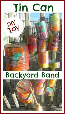 Tin can music:  This is a great activity to bring children outdoors! We could decorate the cans outside and each child could make their own drum.  We could have a music making session in the woods!