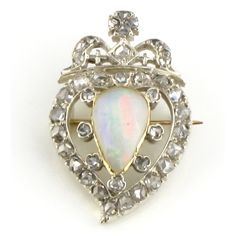 Victorian Witches Heart Brooch set with Diamond & Opal