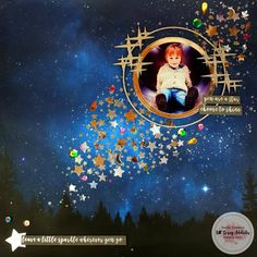 Sarah here today with my layout using punches. I don't own all that many punches, but for some reason I have about 6 different sized sta. Frame My Photo, Texture Paste, Kawaii Stickers, Punch Out, Night Skies, Happy Friday, My Photos, Scene, Layout