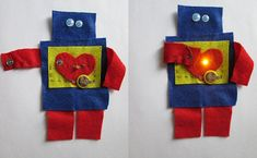 Soft Circuit Robot idea for Elementary STEM/STEAM with Felt & LED light (via Etsy)