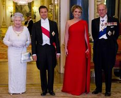 Queen Elizabeth II and Prince Philip, Duke of Edinburgh pose for a photograph with Mexican President Enrique Pena Nieto and his wife Angelica Rivera before a State Banquet at Buckingham Palace on 03.03.2015 in London, England.
