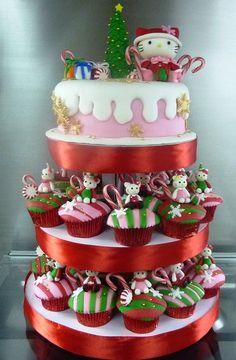 Christmas Hello Kitty Cupcake Tower