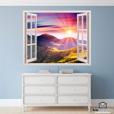 Wall mural Sunset in the mountains. Beautiful natural picture with the sun going down while illuminating the meadows with its last rays. Wall Stickers, Decals, Bergen, Window Wall, Sweet Home, Sunset, Artwork, Gardening, Mini