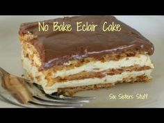 How to Make No Bake Eclair Cake.  This is a super easy yet delicious dessert.  I made it in under 10 minutes and my kids loved it!  #sixsistersstuff