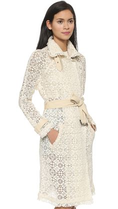 Free People Floral Geo Lace Trench Coat