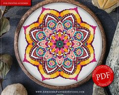 Mandala Flower Cross Stitch Pattern for Instant Download - 112 | Lovely Cross Stitch| Room Decor| Needlecraft Pattern| Easy Cross Stitch