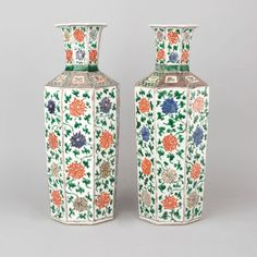 Pair of Chinese porcelain famille verte, wucai octagonal vases, Kangxi period, circa 1690