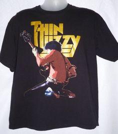 Black T-shirt Thin Lizzy (Phil Lynott Live) Irish Hard Metal Rock Band XL #FruitoftheLoom #GraphicTee
