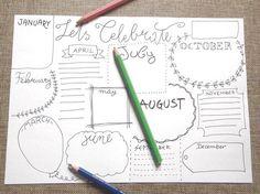 celebrate bullet journal birthday anniversary blank boxes printable planner…