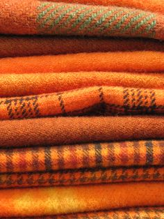 Hand dyed orange wool blankets