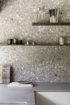 Terrazzo is back and better than ever before. From a chic statement bathroom to a boho eclectic office, here are five terrazzo-filled rooms we love. Kitchen Dinning, Kitchen Tiles, Kitchen And Bath, New Kitchen, Kitchen Decor, Kitchen Cabinets, Kitchen Stone Wall, Order Kitchen, Gray Cabinets