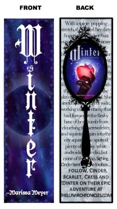 The Lunar Chronicles 'Winter' by Marissa Meyer Bookmark Design Contest entry. I can't wait until this book comes out. marissameyer.com and thelunarchronicles.com