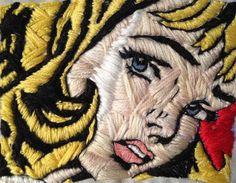 Roy Lichtenstein inspired embroidery.