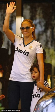 Jennifer Lopez is a soccer mom after she steps out with her children wearing a Real Madrid top