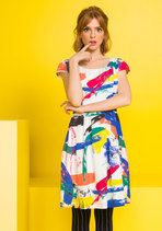 Your sunny disposition calls for an equally lively dress, and this printed A-line - part of our ModCloth namesake label - certainly catches the eye. Bold-colored strokes pop atop the flowy, white chiffon fabric of this pocketed, cap-sleeved frock, giving it a vibrancy to match your own!