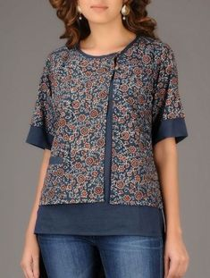 Buy Online Buy Indigo Red Ajrakh printed Asymmetrical Cotton Top Women Tops Winter's Muse Contemporary tussar silk linen jackets and Short Kurti Designs, Kurta Designs Women, Blouse Designs, Sewing Clothes Women, Clothes For Women, Umgestaltete Shirts, Kurti Patterns, Sewing Patterns, Winter Tops