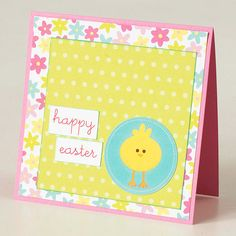Chick Easter Card Adhere decorative paper to the front of the card, then place a square of festive paper on top. Attach two small rectangles to spell out an Easter greeting and finish with a chick cut from patterned paper