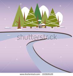 Winter Snow Landscape Village New Year Christmas Night. - stock vector