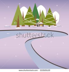 Winter Snow Landscape Village New Year Christmas Night. - stock vector