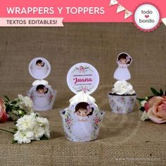 Buscar - Todo Bonito Porta Cupcake, First Communion, Food, Ems, First Holy Communion, Decorated Bottles, Rustic Style, Wood Crosses, Essen