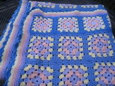 Granny Square Crochet Blanket Vintage 1950's1960s by TerrysCloset, $30.00