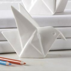 Two's Company Porcelain Origami Small Bird Figure * Click on the image for additional details.