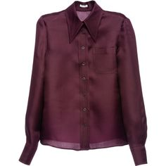 Miu Miu Shirt (88720 RSD) ❤ liked on Polyvore featuring tops, shirts, miu miu, blouses, burgundy, purple button shirt, miu miu top, button shirts, shirts & tops and pattern tops