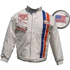 "Replica of Steve Mcqueens jacket from ""Le Mans"" Steve Mcqueen Le Mans, Motorsport Clothing, Beard Suit, Steve Macqueen, Races Outfit, Vintage Racing, Race Cars, Motorcycle Jacket, Dios"