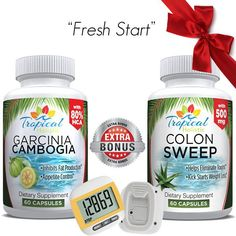 Pure Garcinia Cambogia Extract with 80% HCA and Colon Sweep Combo with Digital Pedometer