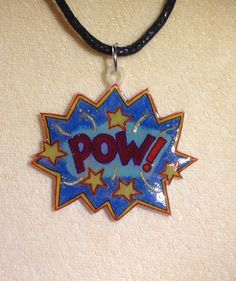 It's a super hero necklace. Shrink plastic