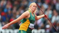 Jessica Gallagher of Australia competes in the women's Javelin Throw - F12/13 Final on day 4 of the London 2012 Paralympic Games at the Olympic Stadium.