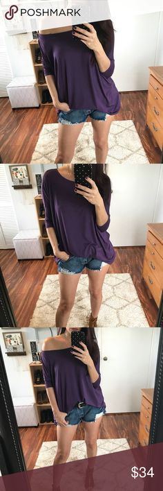 🆕 Becca Bamboo 3/4 Sleeve Top - Dark Purple My best selling Bamboo top, now in a 3/4 sleeve design!  This is hands down my favorite style.  Perfect to wear off the shoulder or on.  Super soft and comfy, you will literally want one in every color.  Modeling size small.  Wearing with my Bowie Distressed Denim Shorts.  Available in Dark Purple, Black, Barely Mauve, Dark Heather Gray, & Olive Moss. 95% BAMBOO, 5 % Spandex. Tops Blouses