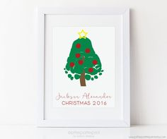 Baby's First Christmas Art Print Footprint by PitterPatterPrint