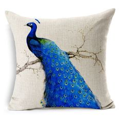 Elegant and noble peacock cotton cushion  #pillows #animals #cushions #style #fashion #peacock