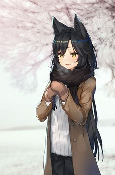 Anime picture 				1031x1565 with  		league of legends (game) 		ahri (league of legends) 		ato (haru ato) 		long hair 		tall image 		blush 		black hair 		fringe 		yellow eyes 		animal ears 		looking away 		hair between eyes 		parted lips 		fang (fangs) 		snow 		fox ears 		foxgirl 		winter 		hands clasped 		exhalation
