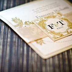 Formal Gold Wedding Invitations - stationary suite