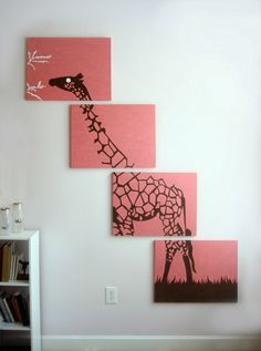 Giraffe Painting - Pink Giraffe Art - Nursery Art - Brown White - Zoo Animal Silhouette - Safari Wall Art 18 x 24 (Set of Pink Giraffe, Giraffe Art, Elephant, Diy Wall Art, Diy Art, Wall Decor, Cuadros Diy, Giraffe Painting, Diy And Crafts