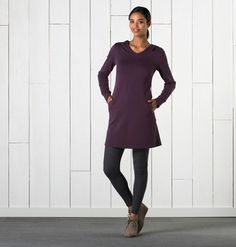 Women's Dresspass Dress ~ Organic Cotton & Tencel Long Sleeve Hooded Dress by Horny Toad Outdoorsy Style, Outdoorsy Fashion, Hooded Dress, Sustainable Fabrics, Casual Tops For Women, Everyday Dresses, Toad, Stitch Fix, Amazing Women